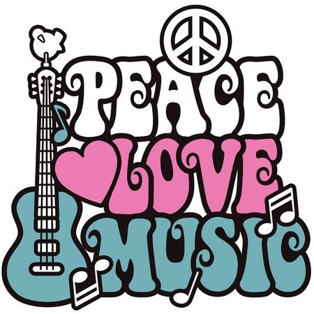 Diseño de estilo retro de una guitarra, símbolo de paz y Paloma con las palabras de paz, amor y música. Estilo de texto es mi propio diseño. Foto de archivo - 9755916