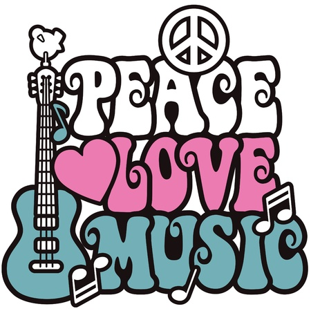 Retro-style design of a guitar, peace symbol and dove with the words Peace, Love and Music. Type style is my own design. Vector