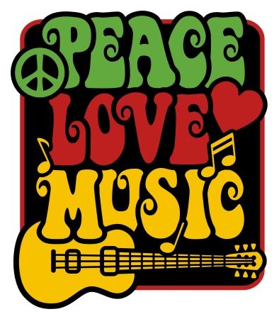 Diseño de estilo retro de paz, amor y música con símbolo de paz, corazón, notas musicales y guitarra en colores Rasta.