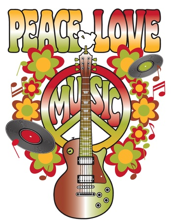 peace and love: An illustration of a guitar, peace symbol and dove dedicated to the Woodstock Music and Art Fair of 1969.