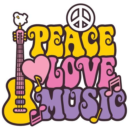symbole de la paix: Style r�tro d'un symbole de paix de la guitare et colombe avec la paix des mots, l'amour et la musique. Style de type est mon propre design.