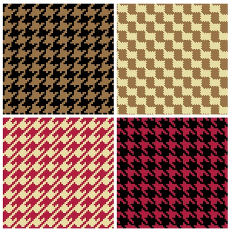 tweed: Four houndstooth patterns in classic colors. Illustration