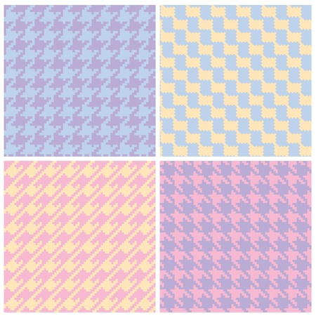 Four houndstooth patterns in pastels. Vector