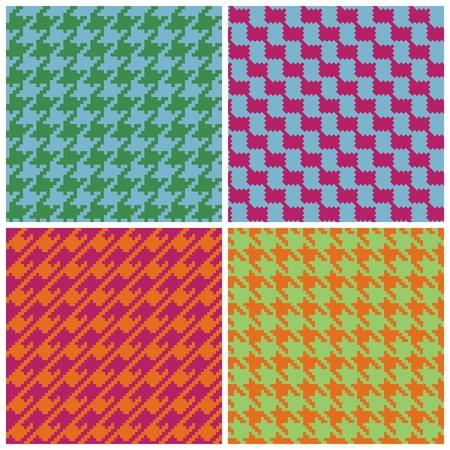 レトロの明るい色で 4 つの千鳥格子パターン。