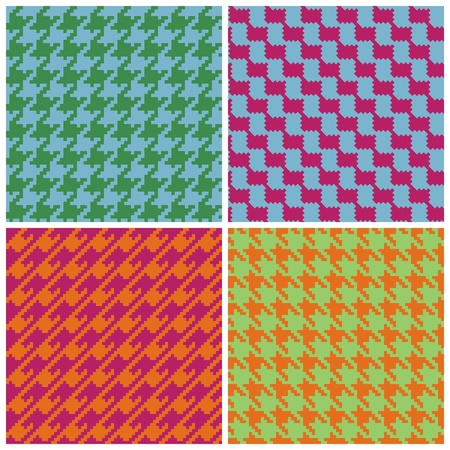 Four houndstooth patterns in bright retro colors. Vector