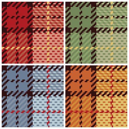 4 つの colorways でベクトルの格子柄のパターン。 写真素材 - 9755949