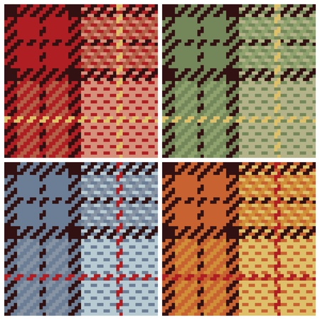 Vector plaid pattern in four colorways.  Vector