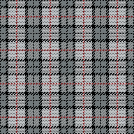 Vector seamless plaid pattern in gray with red stripe. Vector