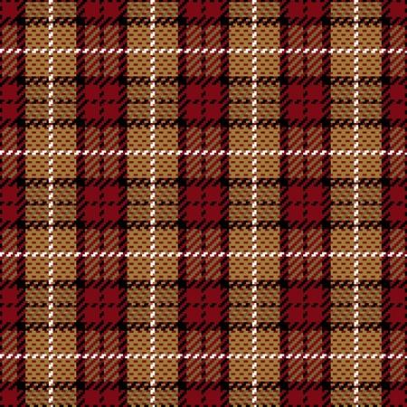 ベクトルの赤とゴールドのシームレスな格子縞のパターン。
