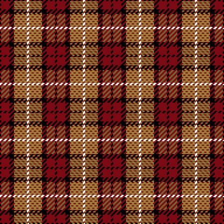 Vector seamless plaid pattern in red and gold. Vector