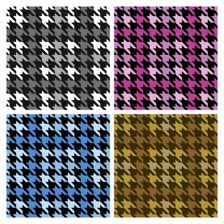 Vector seamless plaid houndstooth pattern in four colorways. 版權商用圖片 - 9755938