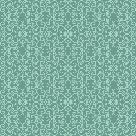 정교한: Fashionable seamless pattern with a vintage style in victorian green.