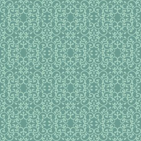 Modieuze naadloze patroon met een vintage stijl in Victoriaanse groen. Stock Illustratie