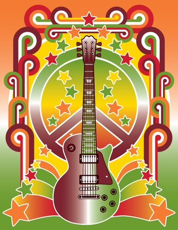 Retro-style illustration of a guitar and peace sign.