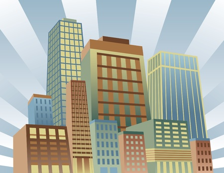 Vector illustration of a bright, modern cityscape.