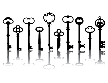 Ten skeleton key silhouettes with shadows, referenced from actual antique keys.