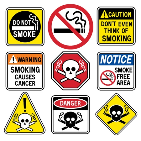 hazard sign: A collection of ten &quot,No Smoking&quot, icons.