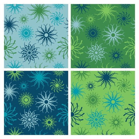Abstract floral seamless pattern in blues and greens. Stock Vector - 9755965