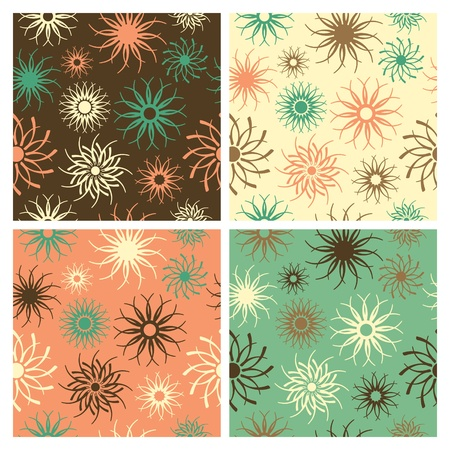 Abstract floral seamless pattern in four colorways.