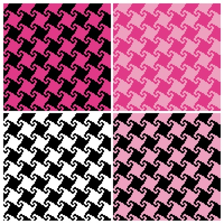 Seamless spiral houndstooth pattern in four colorways. Vector