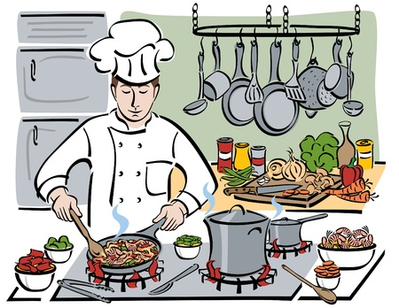 a professional chef preparing shrimp with pasta and vegetables in a restaurant kitchen.  Vector