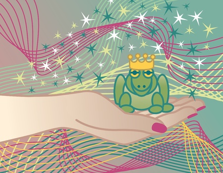 Illustration of the Frog Prince sitting in the hand of the Princess.  Vector