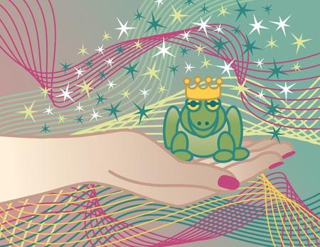 rana principe: Ilustraci�n del Pr�ncipe rana en la mano de la princesa.
