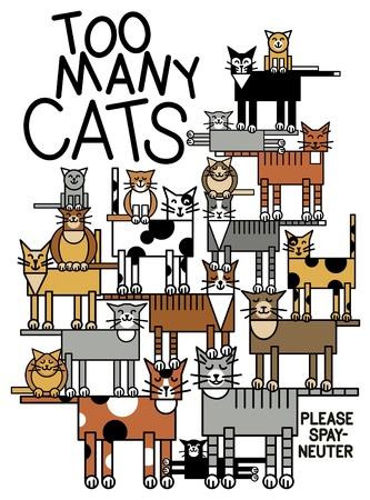 devanear: cat family.  Ilustração