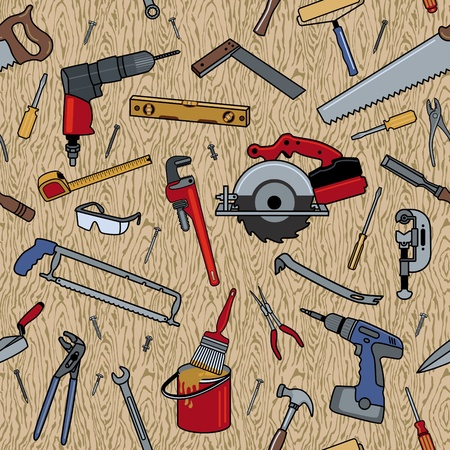 Home construction tools on a seamless wood pattern. Vector