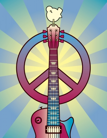 Illustration of a guitar, peace symbol and dove dedicated to the Woodstock Music and Art Fair of 1969.