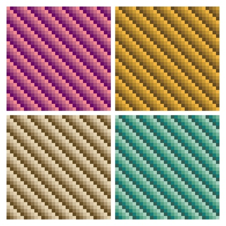 Seamless dimensional tube pattern in four colorways. Vector