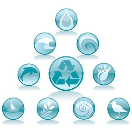 Zehn Runden Ikonen mit Umweltthemen. Standard-Bild - 9676515