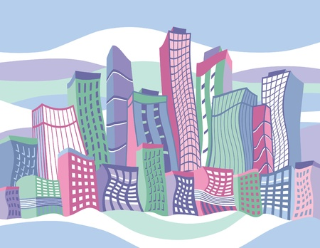 high rise buildings: Vector illustration of a wavy cartoon city. Illustration