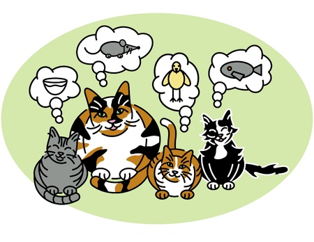 Vector illustration of a calico mom cat and her three kittens thinking.