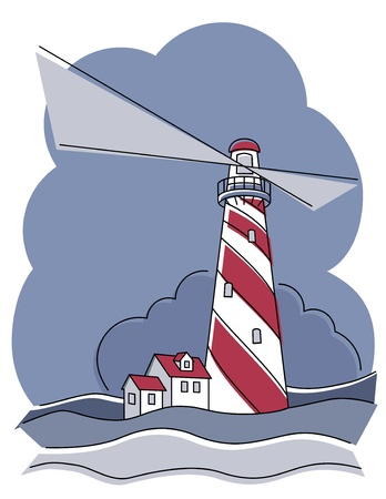 Vector illustration of a red and white swirly striped lighthouse. Vector