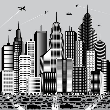 Vector illustratie van een generieke stadsbeeld met mensen en voertuigen.