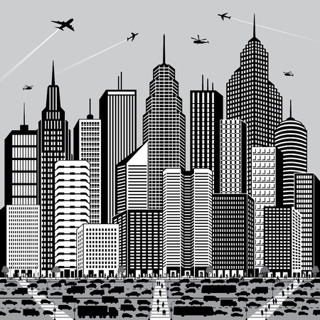 Vector illustration of a generic cityscape with people and vehicles.