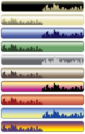 Vector collection of ten city web banners. Vectores
