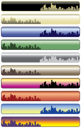 Vector collection of ten city web banners. Stock Vector - 9756033