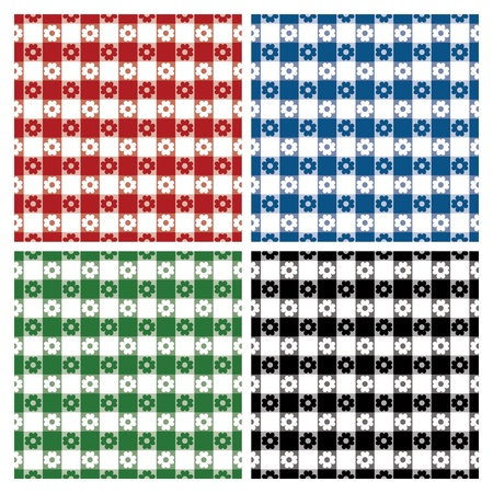 Seamless classic tablecloth pattern in four colorways. Ilustrace