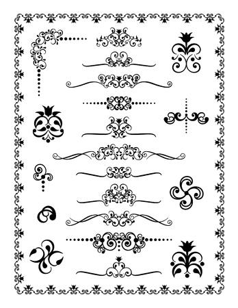 #1 装飾的な罫線、仕切り、装飾品のコレクション。  イラスト・ベクター素材