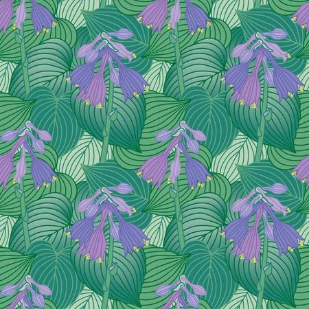Seamless pattern of flowering Hosta plants.