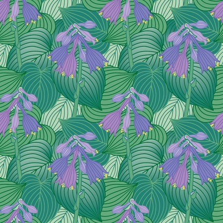 spikes: Seamless pattern of flowering Hosta plants.
