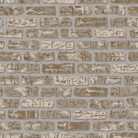fortification: Vector seamless grungy brick pattern in beige.