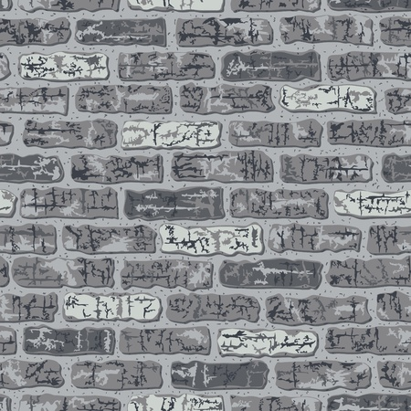 Vector seamless grungy brick pattern in gray.