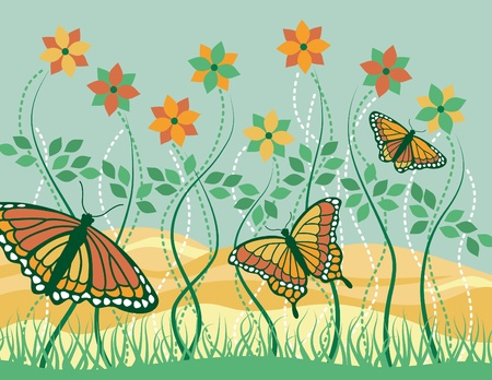 Vector illustration of three Monarch butterflies and flowers on a summer morning.