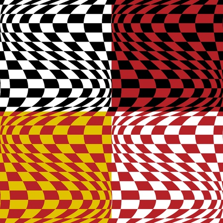 Vector seamless op art pattern #3 in four color combinations. Vector