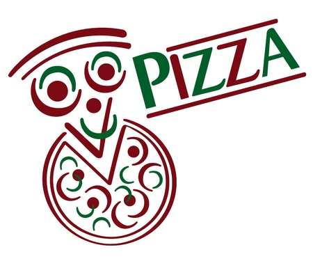 Cartoon pizza with type treatment. Illustration