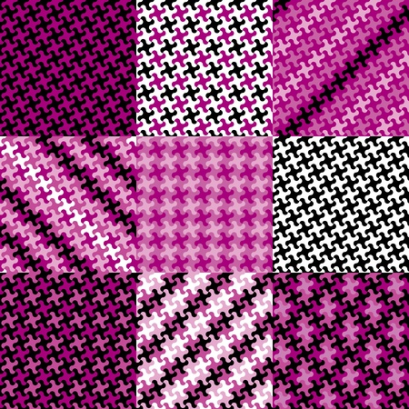 checkerboard backdrop: Collection of nine trendy puzzle patterns made from the same puzzle piece in magenta, black, pink and white.