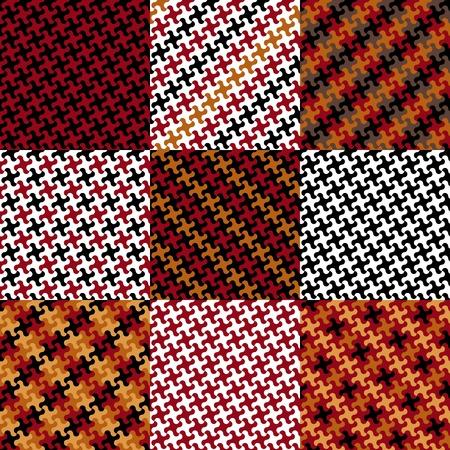 赤、黄色、黒と白で同じパズルのピースから作られた 9 つのトレンディなパズル パターンのコレクションです。 写真素材 - 9756221